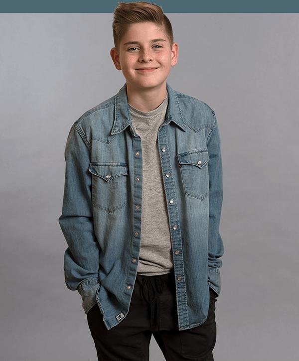 Hudson in jean shirt
