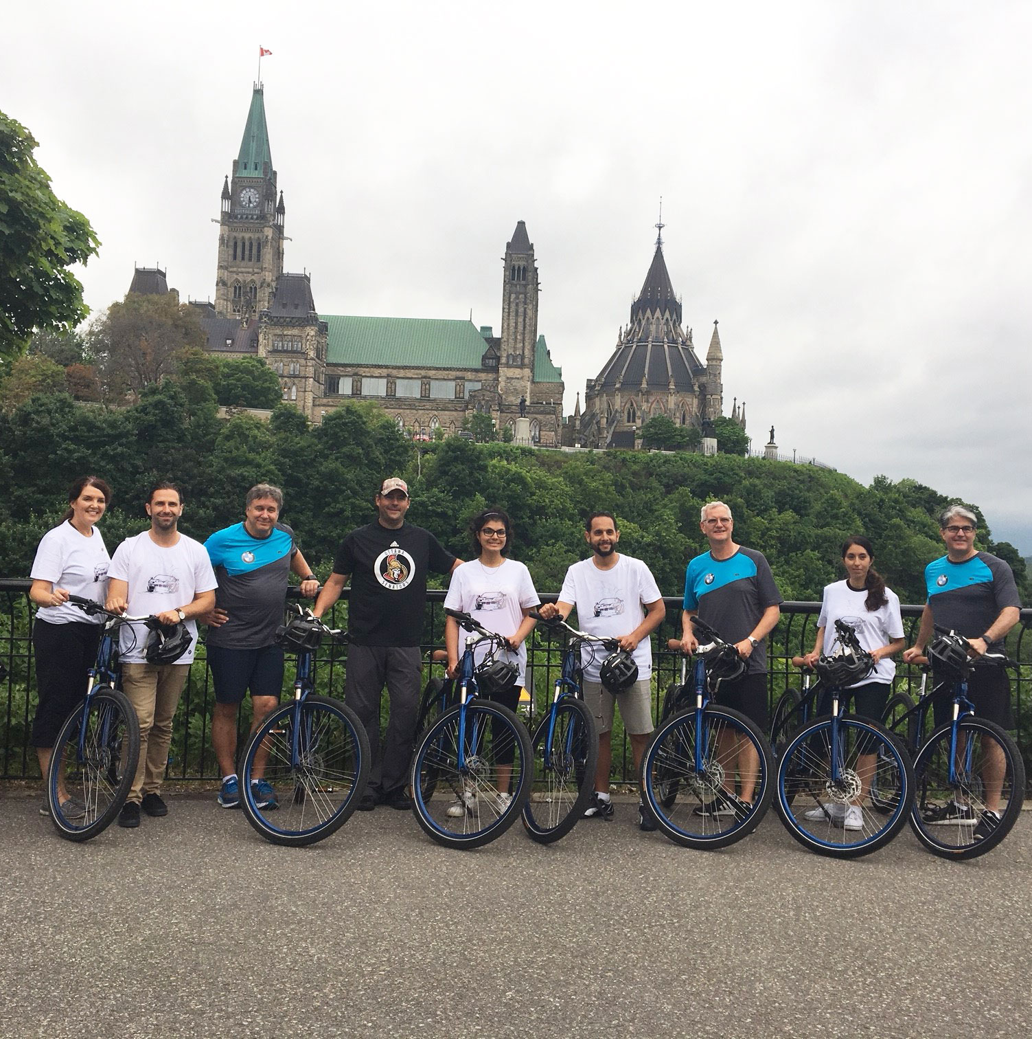 Group of bikers in front of Ottawa parliament