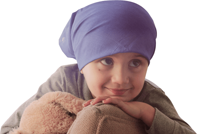 Child with head cover facing right