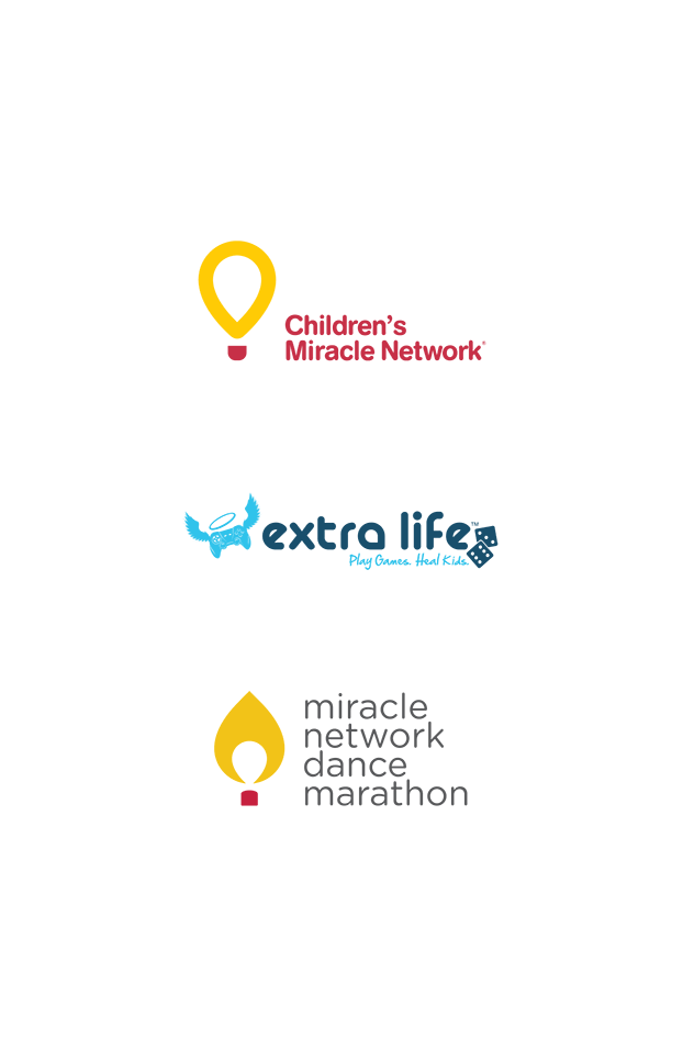 Program logos: Children's Miracle Network, extra life and miracle network dance marathon