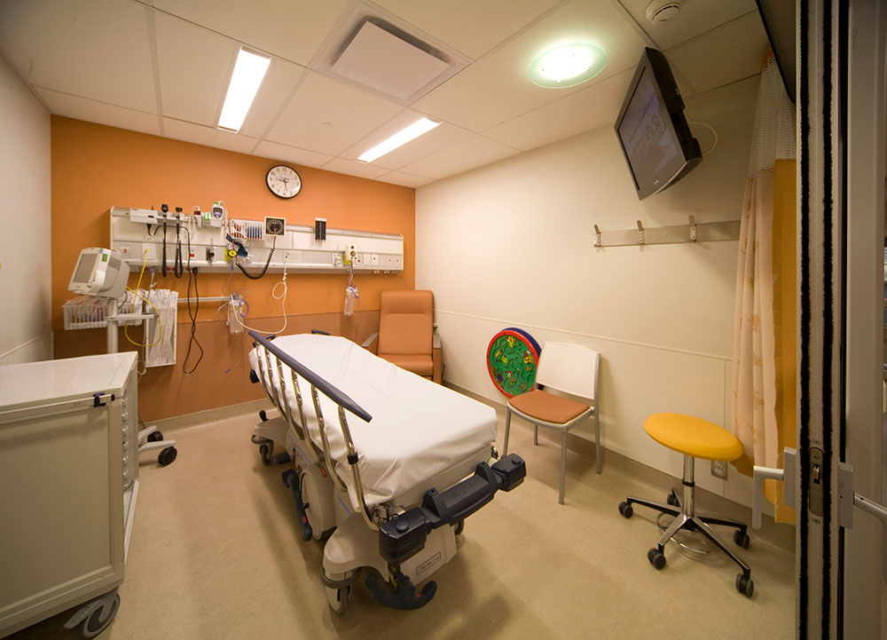 Empty hospital treatment room