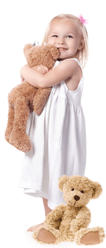 Little girl with teddy bears