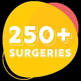 250+ surgeries