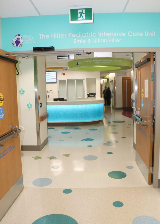 Hallway of The Hiller Pediatric Intensive Care Unit
