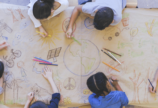Kids drawing planet earth