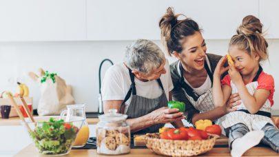 Three generations women in the kitchen