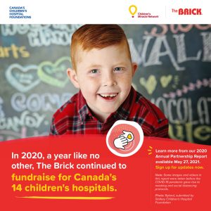 The Brick continues to fundraise for Canada's 14 children's hospitals